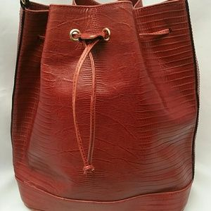 Talbots Genuine Leather Drawstring Purse